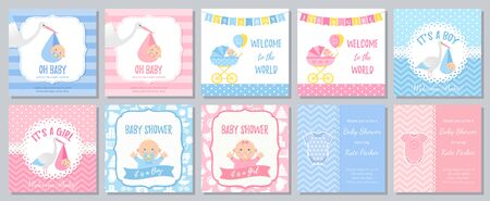 Baby Shower card. Vector. Baby boy girl invitation. Welcome invite template banner. Blue, pink design. Birth party background. Standard-Bild - 127740842