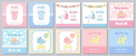 Baby Shower card. Vector. Baby girl boy invitation. Welcome invite template banner. Blue pink design. Birth party background. Standard-Bild - 127740843
