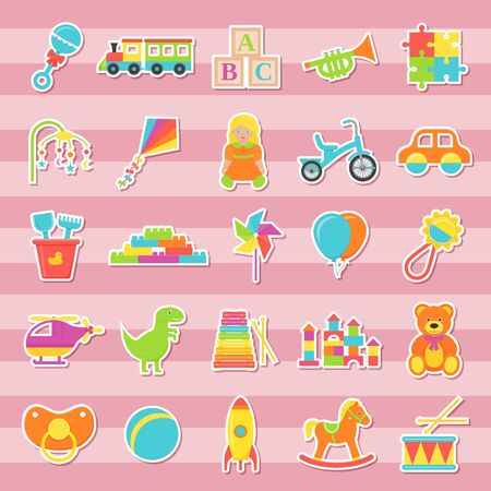 Baby sticker toys. Vector. Kids toy isolated. Baby shower stuff in flat design. cartoon illustration. Set colorful children icons on pink striped background.
