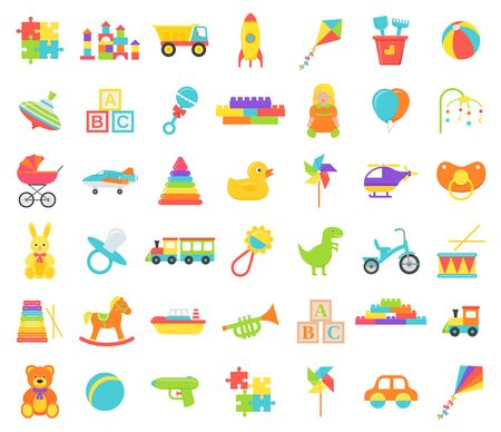 Baby toy isolated. Vector. Set kids toys. Baby shower stuff in flat design on white background. Colorful cartoon illustration. Cute collection children icons.