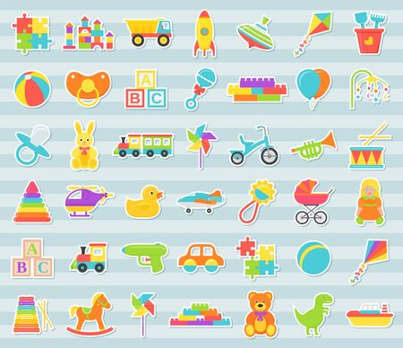 Baby toys stickers. Vector. Kids toy isolated. Baby shower stuff in flat design. Cartoon illustration. Set colorful children icons on blue striped background.