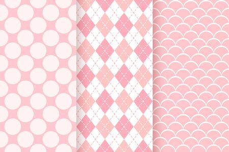 Baby pattern. Kids seamless texture. Baby girl background. Vector. Pink pastel geometric textile print. Cute childish backdrop with big polka dots, rhombus and fish scales. Flat design illustration. Ilustração