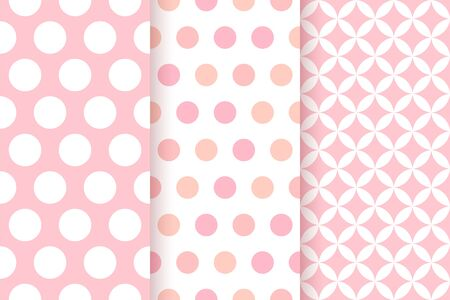 Baby pattern. Kids seamless texture. Pink pastel background. Vector. Baby girl geometric textile print. Cute childish backdrop with big polka dots and rhombus. Flat design. Modern illustration.