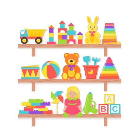 Baby toy on shelf. Vector. Set kids toys. Baby stuff on wooden rack isolated. Colorful cartoon illustration. Collection children icons in flat design on white background. Color banner.