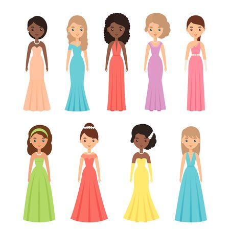 Woman character in evening dress. Vector. Girls standing in long dresses. Set young adult females isolated on white background. Party clothing in flat design. Boutique textile. Cartoon illustration.