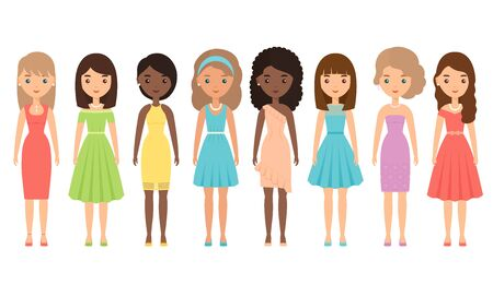 Woman character in cocktail dress. Vector. Girls standing on white background. Set young adult females isolated. Female textile apparel. Party clothing for lady in flat design. Cartoon illustration.