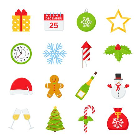 Christmas icons. Vector. Christmas winter decorations in flat design isolated on white background.  Cartoon colorful illustration. Cute color set of holiday red green symbols. Ilustração