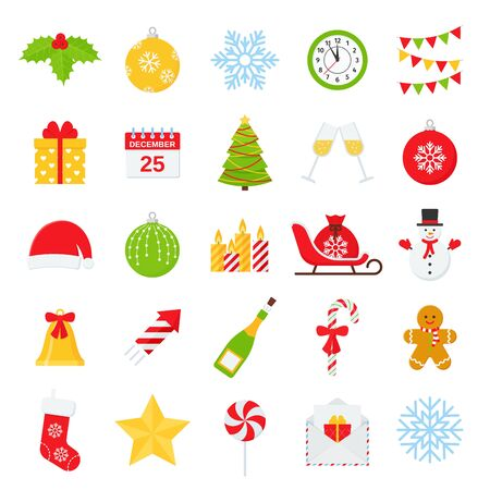 Christmas icons. Vector. Set winter decorations isolated on white background.  Cartoon colorful illustration. Cute color holiday red green symbols in flat design.