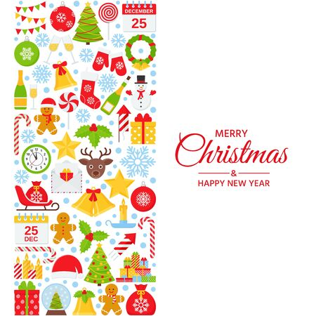 Christmas background. Vector. Happy New year greeting card. Holiday decoration banner with Christmas icons. Creative template poster. Cartoon square illustration. Xmas party postcard in flat design Ilustração
