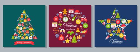 Christmas background, card. Vector. Happy New year greeting banner. Holiday decoration poster with Christmas icon. Creative set templates. Cartoon square illustration. Xmas party postcard. Flat design Ilustração
