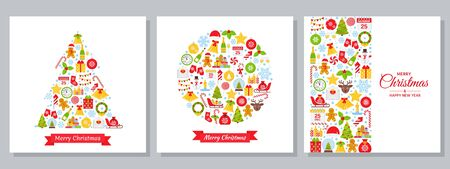Christmas background. Vector. Holiday greeting card. Decoration banner with Christmas icons.  Set Xmas posters. Party template in flat design. Creative postcards. Cartoon square illustration.