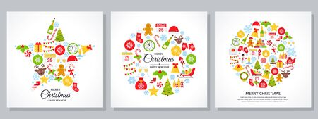 Christmas background. Vector. Decoration greeting card. Banner with Christmas icons on white backdrop. Holiday poster. Cartoon square illustration. Set Xmas party template in flat design Ilustração