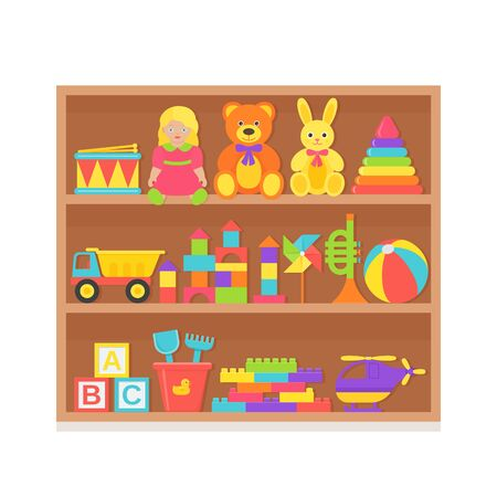 Baby toy on shelf. Vector. Set kids toys on wooden rack. Baby stuff isolated. Collection children icons in flat design. Colorful cartoon illustration on white background. Color banner. Ilustração