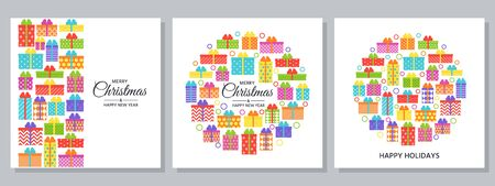 Christmas background. Vector. Happy New year greeting card. Holiday decoration design banner with gift boxes. Creative template poster with wrapped presents on white. Cartoon flat illustration.