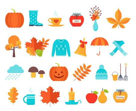 Autumn icon. Vector. Fall season. Cute autumnal elements with leaves, pumpkin, umbrella, rain. Flat design. Colorful cartoon illustration. Set orange yellow objects isolated on white background. Ilustração