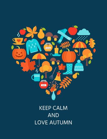 Autumn card. Vector. Keep calm and love autumn. Fall leaves decoration poster. Creative postcard with autumn elements in heart shape. Greeting template background in flat design. Cartoon illustration