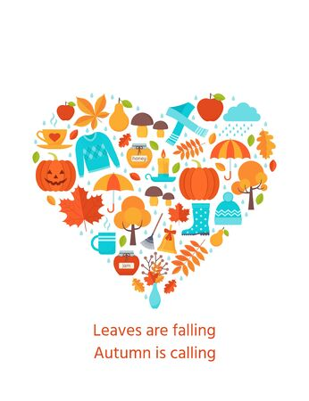 Autumn card. Vector. Creative postcard with autumn elements in heart shape. Fall leaves decoration poster. Greeting template in flat design on white background. Cartoon illustration Ilustração