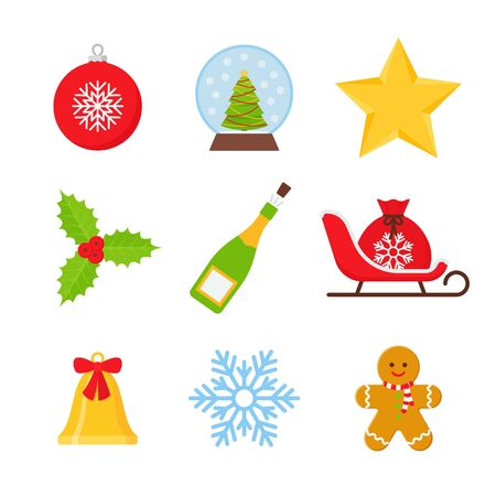 Christmas icons. Vector. Xmas winter symbols isolated on white background. Set of cute holiday decorations in flat design. Cartoon colorful illustration. Collection red green objects.