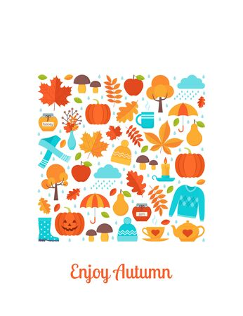 Autumn greeting card. Vector. Creative postcard with autumn elements in square shape. Template in flat design on white background. Fall leaves decoration poster. Cartoon illustration Ilustração