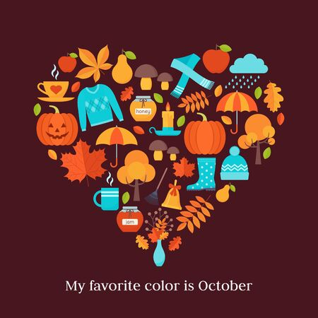Autumn background. Vector. Creative card with autumn elements in heart shape. Template in flat design on dark brown backdrop. Fall leaves decoration banner. Cartoon illustration. Colorful poster. Ilustração