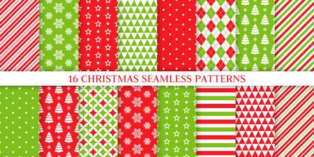 Christmas seamless pattern. Xmas, New year background. Vector. Endless texture with polka dot, candy cane stripe, snow, tree, star. Holiday print for wrapping paper web textile. Red green illustration Ilustração