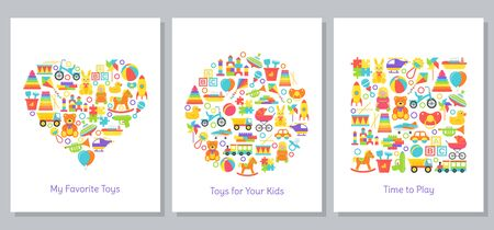 Baby toys cards stylized in shapes of heart, circle and square. Kids toy print. Vector. Set children icons isolated on white background. Cartoon illustration. Flat design. Cute colorful banner. Ilustração