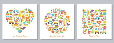 Baby toys backgrounds stylized in shapes of heart, circle and square. Cute card with kids toy print. Vector. Set children icons isolated on white. Cartoon illustration. Flat design. Colorful banner.
