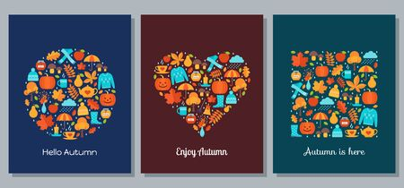 Autumn card with autumn elements stylized in shapes of circle, heart and square. Vector. Creative template background on dark backdrop. Flat design. Fall leaves decoration banner. Cartoon illustration