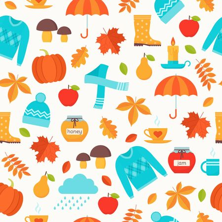 Autumn pattern. Vector. Seamless background with fall leaves, umbrella, pumpkin, rain, sweater. Seasonal autumn print on white backdrop. Cute texture. Colorful cartoon illustration.