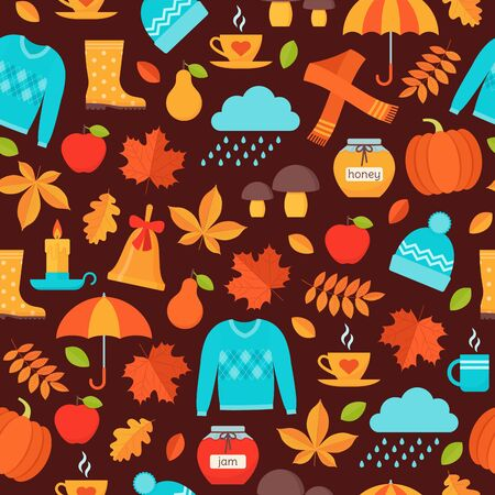 Autumn pattern. Vector. Seamless background with autumn elements fall leaves, umbrella, pumpkin, rain, sweater hat. Seasonal print on brown backdrop. Cute texture. Colorful illustration in flat design