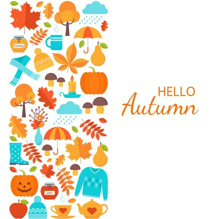 Autumn background. Vector. Hello Autumn greeting card. Template in flat design on white backdrop. Fall leaves decoration square poster. Cartoon colorful illustration