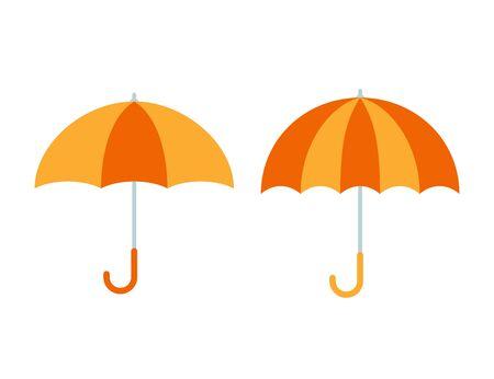 Icono de paraguas. Vector. Paraguas naranja amarillo aislado sobre fondo blanco. Diseño plano. Accesorio de protección para tiempo lluvioso o soleado. Ilustración colorida de dibujos animados. Otoño, símbolo de primavera.
