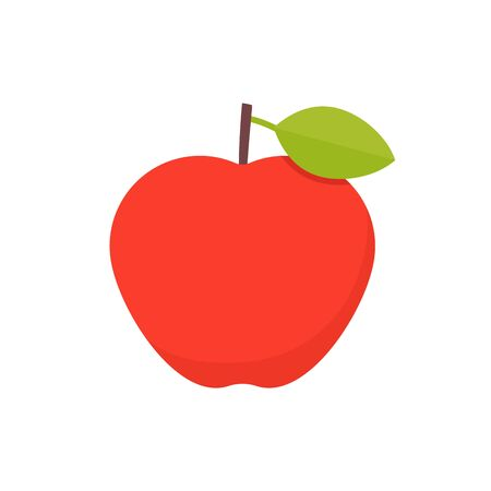 Apple icon. Vector. Red apple with green leaf isolated on white background. Flat design. Ripe healthy fruit. Cartoon colorful illustration. Symbol of autumn for web design, mobile app,  card