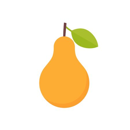 Pear icon. Vector. Yellow pear with green leaf isolated on white background. Flat design. Ripe healthy fruit. Cartoon colorful illustration. Symbol of autumn for web design, mobile app,  card