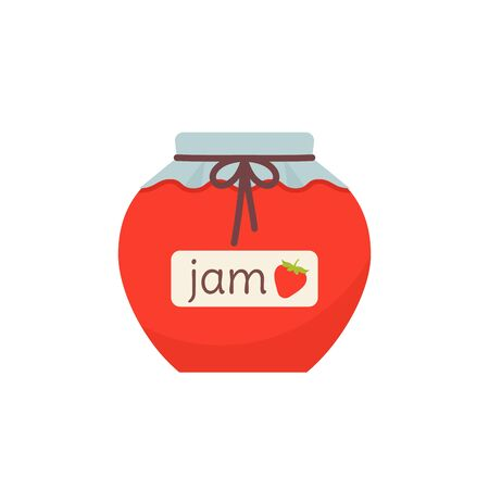 Jam in jar icon. Vector. Strawberry marmalade in glass pot with label. Isolated on white background. Flat design. Berry jelly. Cartoon colorful illustration. Symbol of autumn.