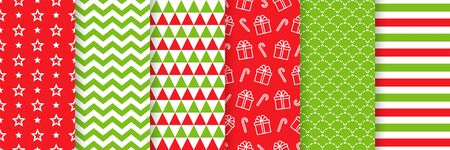 Christmas seamless pattern. Holiday background. Vector. Endless texture with star, present, zig zag, triangle, candy cane. Festive print for wrapping paper, web, textile. Red green illustration