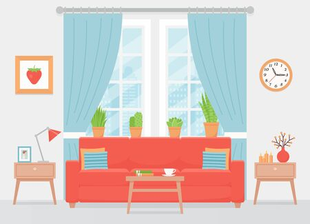 Room interior. Vector. Living room with sofa, window, coffee table. Home inside with coral cushioned furniture, blue curtains, gray wall. Cartoon illustration.  Modern house apartment. Flat design.