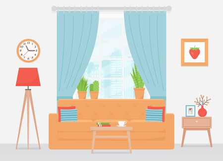 Room interior. Vector. Living room with sofa, window, blue curtains, gray wall. Home inside with furniture. Cartoon illustration. Modern lounge. Banner in flat design. House background.