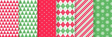 Christmas seamless pattern. Xmas New year texture. Vector. Festive background with triangle, tree, polka dot, rhombus, candy cane stripes, snowflake. Holiday wrapping paper. Red green illustration