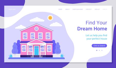 Real estate landing page. Vector. Buying, rent house concept. Find dream home, investment property web page template. House with fence, garden.  Flat design. Horizontal banner. Colorful Illustration.