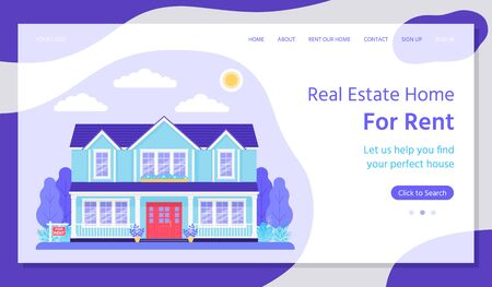 Renting home landing page. Vector. Real estate. Rent or buy house web page template. House with garden.  Flat design. Investment property concept. Horizontal banner. Colorful Illustration.
