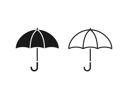 Umbrella icon. Vector. Umbrella in simple flat design outline isolated on white background. Protective accessory for rainy sunny weather. Illustration for graphic web logo app UI. Autumn spring symbol