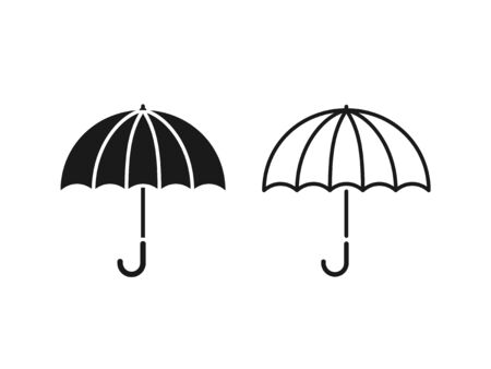 Umbrella icon. Vector. Umbrella in simple flat design linear isolated on white background. Protective accessory for rainy sunny weather. Autumn spring symbol. Illustration for graphic web logo app UI
