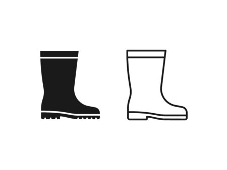 Rubber boot icon. Vector. Gumboots in simple flat design, outline, isolated on white background. Waterproof shoe for rainy weather, gardening, fishing. Illustration for web, app UI. Autumn symbol