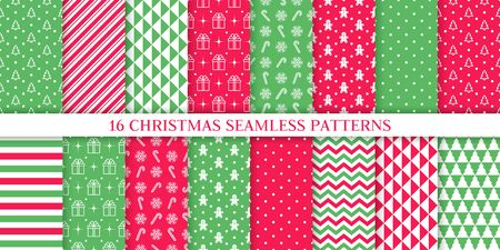 Christmas pattern. Xmas New year texture. Vector. Holiday seamless background with tree, candy cane stripe, triangle, gift, snowflake, polka dot, zig zag. Print for wrapping paper textile Illustration