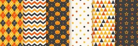 Halloween seamless pattern. Haloween background. Vector. Geometric texture with pumpkin face, zig zag, rhombus, polka dots, star and triangle. Holiday wrapping paper. Orange yellow black illustration