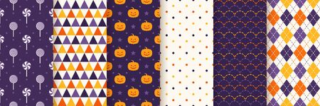Halloween seamless pattern. Haloween texture. Vector. Geometric background with pumpkin face, candy, triangle, polka dots and rhombus. Holiday wrapping paper. Orange yellow purple illustration