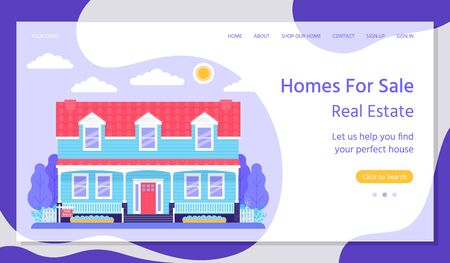 Sale home landing page. Vector. Real estate. Buy or rent house web page template. House with garden in flat design. Investment property concept. Horizontal banner. Colorful Illustration.