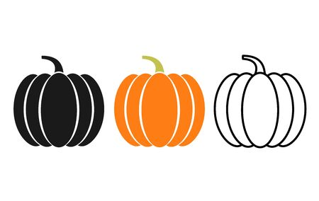 Pumpkin icon. Vector. Autumn Halloween or Thanksgiving pumpkin symbol in flat design, simple, outline. Squash silhouette isolated on white background. Illustration. Ilustração