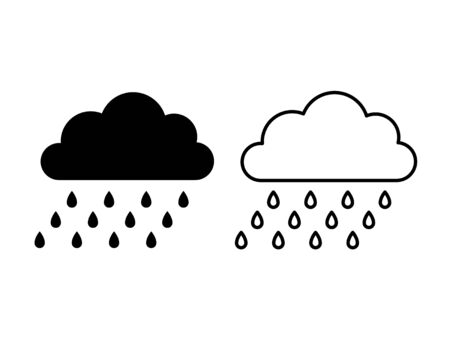 Rain cloud icon. Vector. Weather symbol in flat design, simple, outline isolated on white background. Modern forecast storm sign for web site, button, mobile app, app, UI. Cartoon illustration.